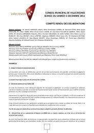 Conseil municipal 3 décembre 2011 - Ville de Villecresnes