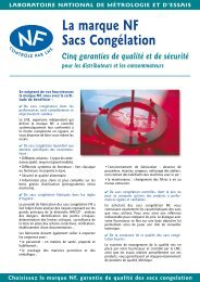 Marque NF Sacs congélation - Plaquette d'information - LNE