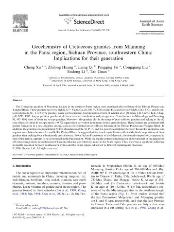 Geochemistry of Cretaceous granites from Mianning in the Panxi ...