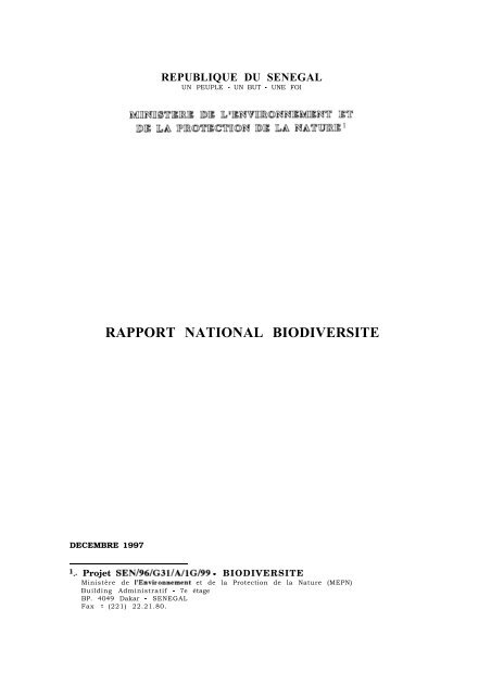 Rapport National - Convention on Biological Diversity