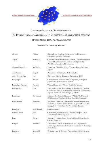 5. FORO HISPANO-ALEMÁN / 5. DEUTSCH-SPANISCHES FORUM