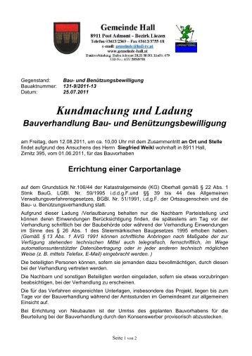 Bauverhandlung --> Siegfried Weikl - Gemeinde Hall