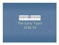 The Early Years at Marian College