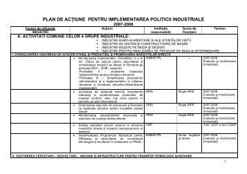 plan de acţiune pentru implementarea politicii industriale - Ministerul ...