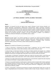 Ley para el Desarme y Control de Armas y Municiones ... - cpzulia.org