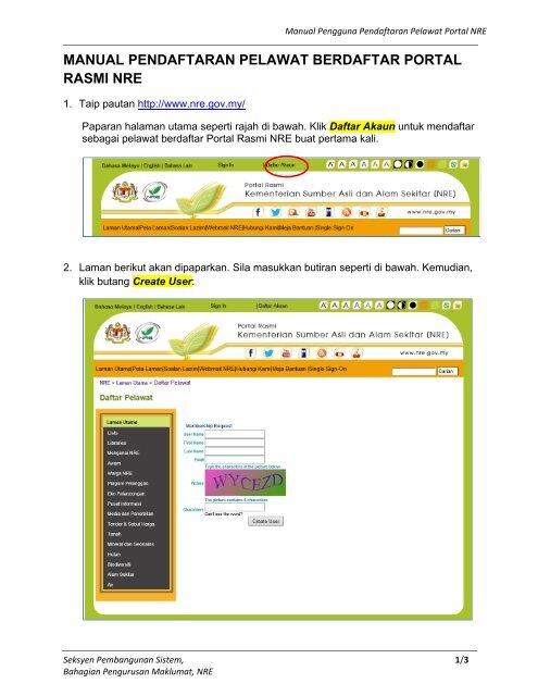 manual pendaftaran pelawat berdaftar portal rasmi nre