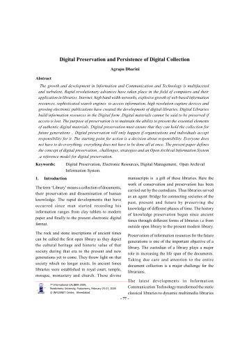 Digital Preservation and Persistence of Digital Collection