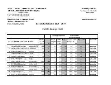 Résultats Définitifs 2009 - 2010 - Universités de Bamako