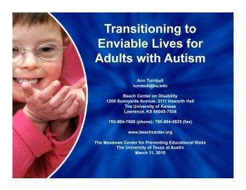 Transitioning to Enviable Lives for Adults with Autism