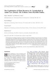 The Exploitation of Plant Resources by Neanderthals in Amud Cave ...