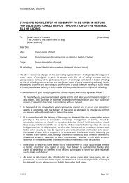 standard form letter of indemnity to be given in return for ... - Extranet