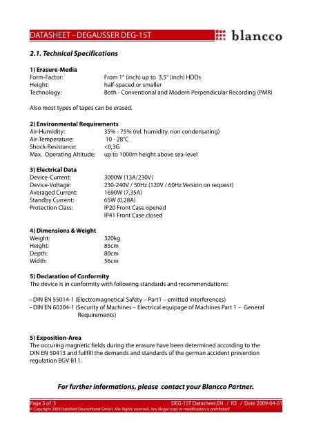 DATASHEET - DEGAUSSER DEG-15T - sidave GmbH