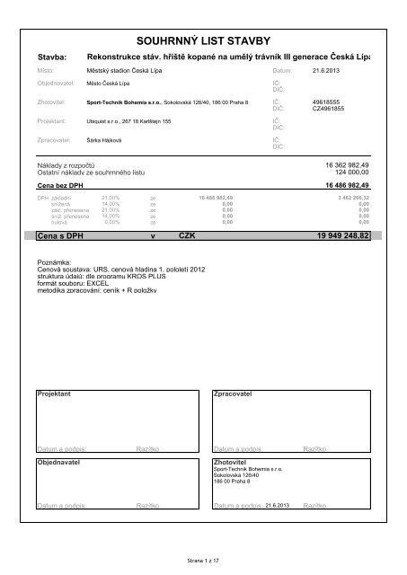 Příloha č. 1 smlouvy - položkový rozpočet - Město Česká Lípa
