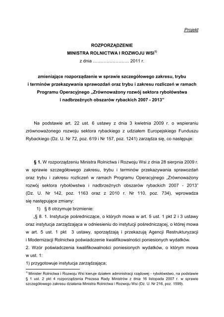 Rozporządzenia Ministra Rolnictwa i Rozwoju Wsi zmieniającego ...