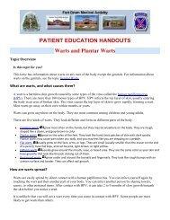 PATIENT EDUCATION HANDOUTS Warts and Plantar Warts