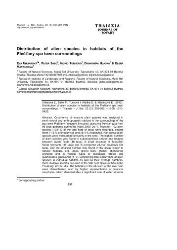 THAISZIA Distribution of alien species in habitats of the Piešťany ...