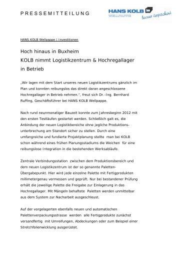 KOLB nimmt Logistikzentrum & Hochregallager in Betrieb