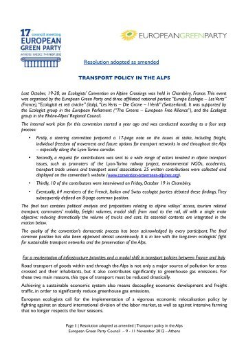 Transport policy in the Alps (adopted resolution) - European Greens