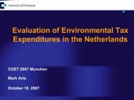 Evaluation of Environmental Tax Expenditures in the Netherlands