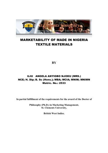 marketability of made in nigeria textile materials by - St Clements ...