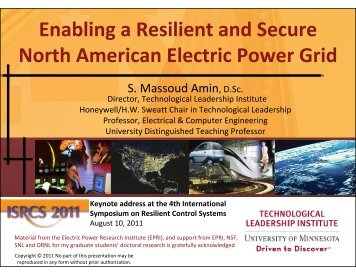 Enabling a Resilient and Secure North American Electric Power Grid