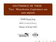 Monodromie d'opérateurs non auto-adjoints - Université de Rennes 1