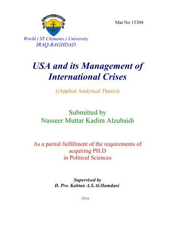USA and its Management of International Crises - St Clements ...