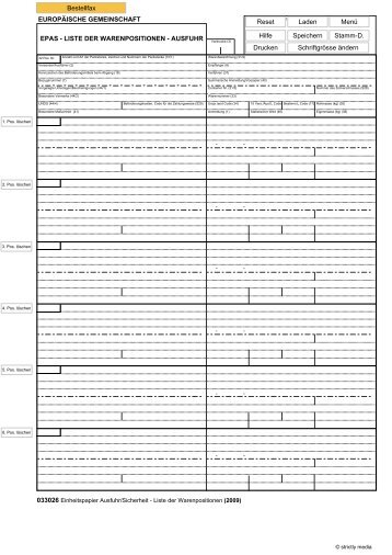Einheitspapier Ausfuhr/Sicherheit - Liste der Warenpositionen