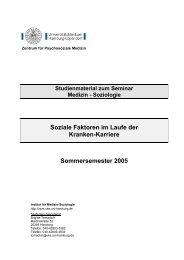 Soziale Faktoren im Laufe der Kranken-Karriere Sommersemester ...