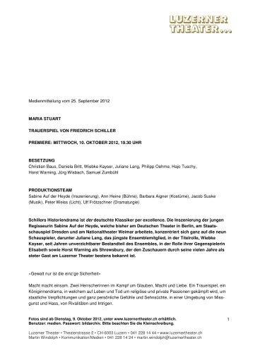 Premiere MARIA STUART, 10.10.2012, Sabine ... - Luzerner Theater