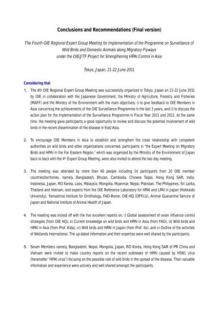 Conclusions and Recommendations (final draft as ... - OIE Asia-Pacific