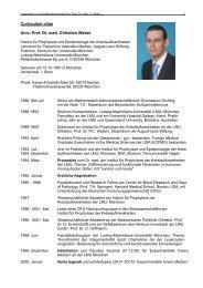 Curriculum vitae Univ.-Prof. Dr. med. Christian Weber