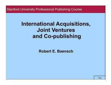 Stanford.Internat'l. Partnerships, Alliances, Acquisitions