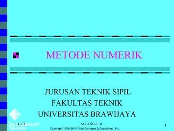 sistem persamaan non linier - Universitas Brawijaya