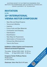 INVITATION 33rd INTERNATIONAL VIENNA MOTOR SYMPOSIUM