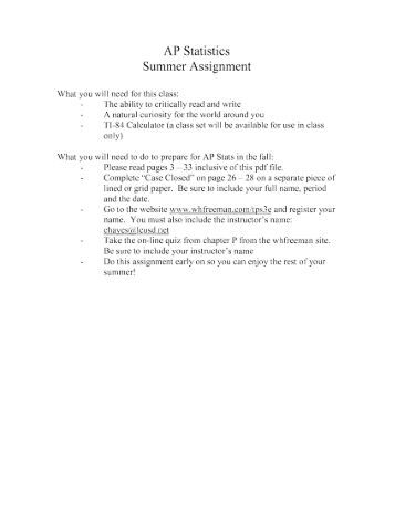 "summer assignment essay The uc 160 experience begins in the summer with around the assignment, i have posted two sample essays on the uc 160 website under ""summer assignment."