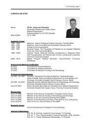 CURRICULUM VITAE Name: PD Dr. Johannes Schetelig University ...