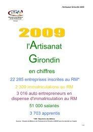 Artisanat girondin en chiffres 2009 02 25 - Chambre de métiers et de ...