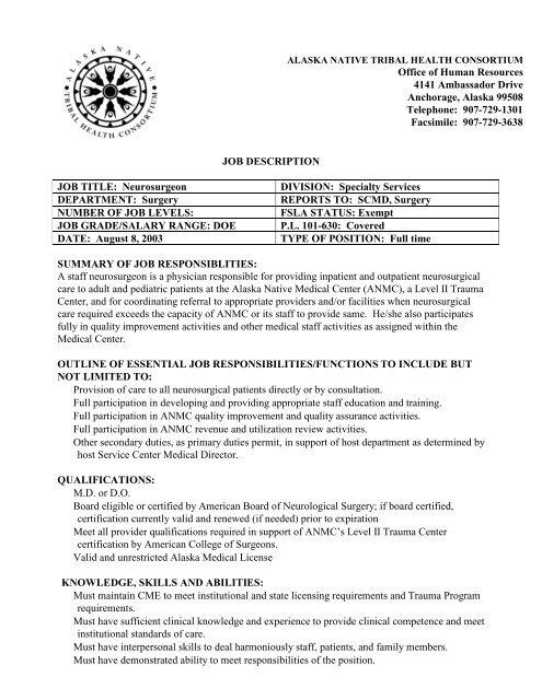 Medical Director Job Descriptions | Job Description Job Title Neurosurgeon Division Anthc