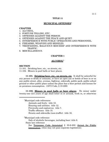 11-1 1Municipal code references Animals and fowls: title 10 ... - MTAS