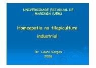 Homeopatia na tilapicultura industrial - SOVERGS