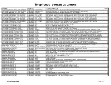 Telephones - Complete CD Contents - Stockmusic.com