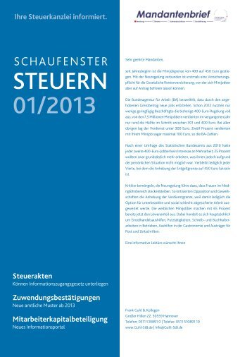 STEUERN 01/2013 - Steuerberater in Hannover