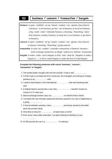 business / concern / transaction / bargain - HandyBooks