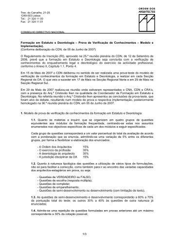 Modelo de Prova - Implementação - Ordem dos Arquitectos