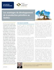 Les avantages du développement de la production pétrolière ... - IEDM