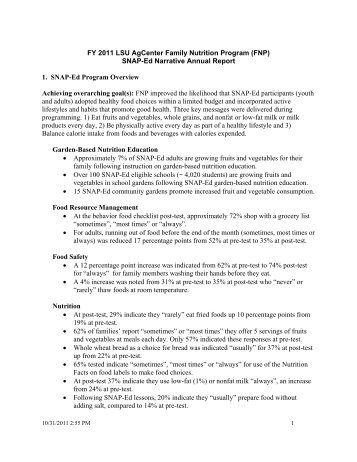 SNAP-Ed Narrative Annual Report 1. SNAP-Ed Program Overview ...