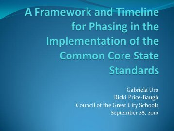 A Framework and Timeline for Phasing in the Implementation of the ...