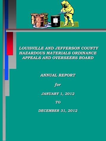Hazardous Materials Ordinance Appeals and Overseers ... - MSD