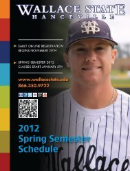 2012 Spring Semester Schedule - Wallace State Community College